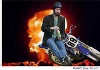 Sad Keanu in a Helmet