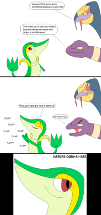 Seviper_and_ekans_vs_smugleaf_by_loneclone-d2xndla