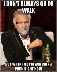I don't always go to walk. But when I do I'm watching porn right now.