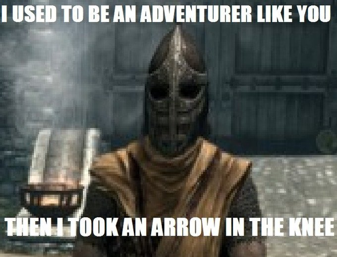 I used to be an adventurer like you, then I took an arrow to the knee.