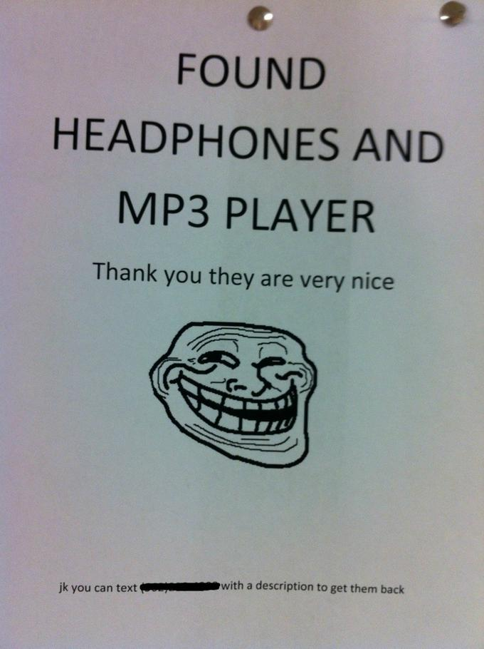 Trolling-Aushang - Lost Headphones Found