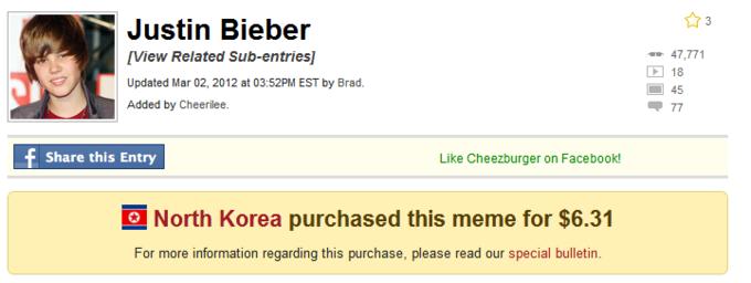 North Korea Bought Justin Bieber