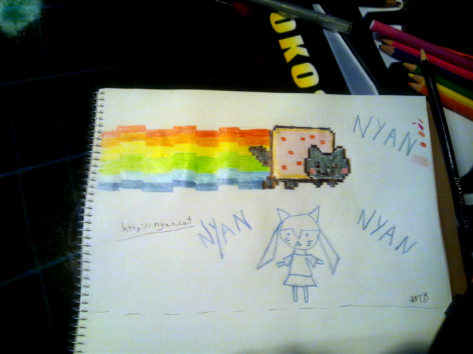 Nyan ART (drawn in Japanese game-center log book)