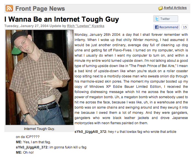 I Wanna Be an Internet Tough Guy