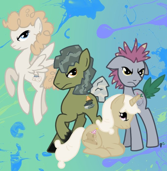 Rocky, Sir Lintcelot, Madame Le Flour, and Mr. Turnip ponified