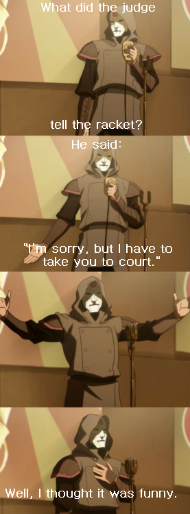 Amon tells a joke about a racket