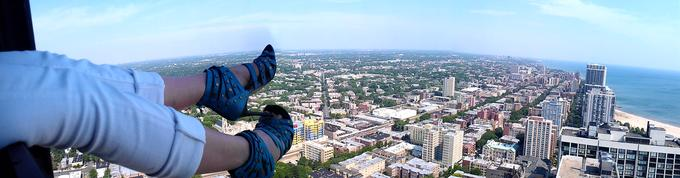 Kicking up my heels 55 stories above Chicago.