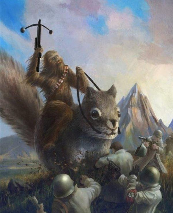 Chewbacca Riding A Giant Squirrel and Fighting Nazis