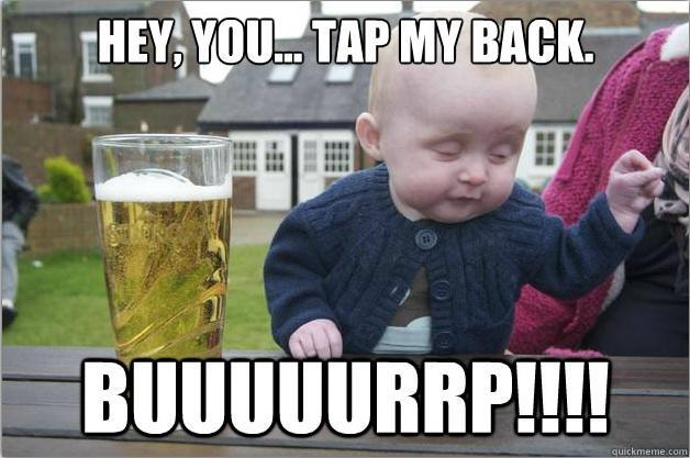 drunk baby has some bar tricks