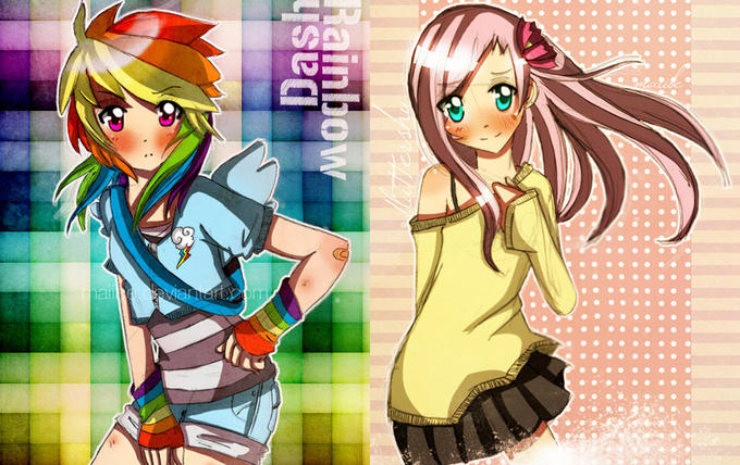 Rainbow Dash and Fluttershy Humanized