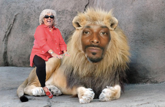 Paula Deen riding Snoop Dogg Lion