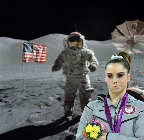 There's a man on the moon...yet McKayla is not impressed