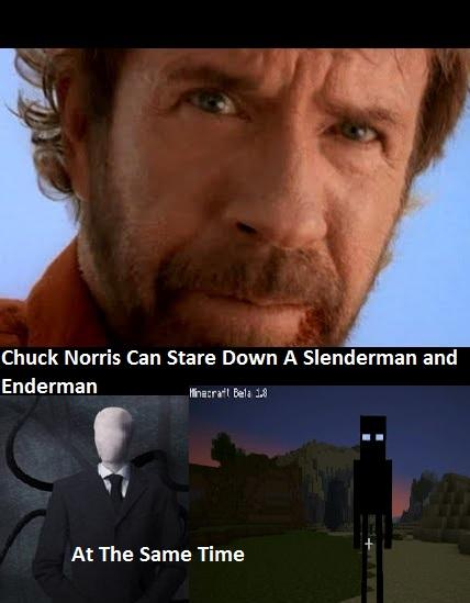 Chuck Norris Slenderman and Enderman Stare Down