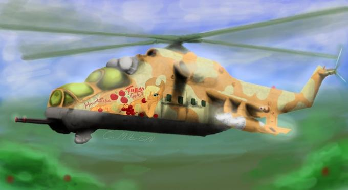 Applejack in an Mi 24 Hind