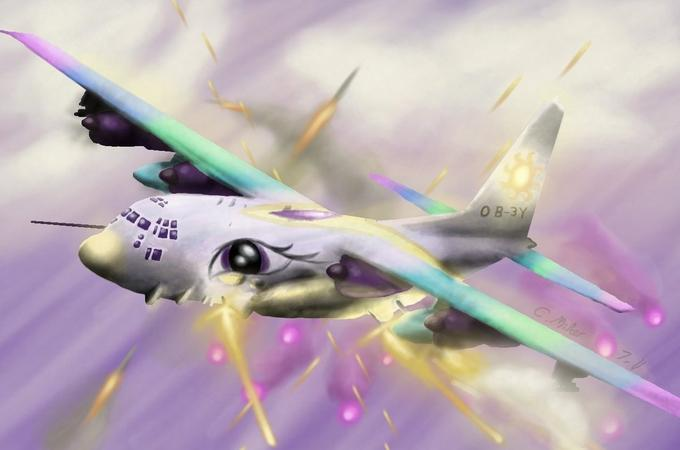 Princess Celestia in an AC-130