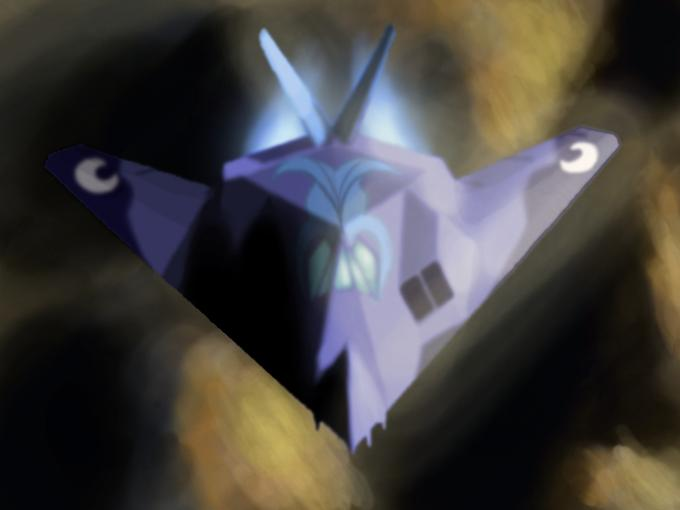 Princess Luna in an F-117A