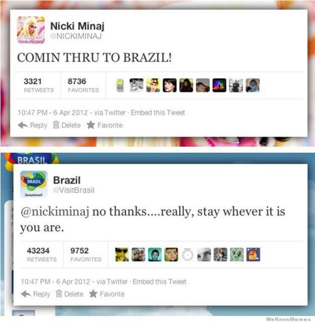 Nicki Minaj vs. @VisitBrazil