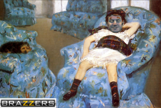 James Holmes in a Artistic painting as a creepy little girl