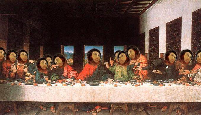 """Ruined """"Ecce Homo"""" face appears in da Vinci's Last Supper"""