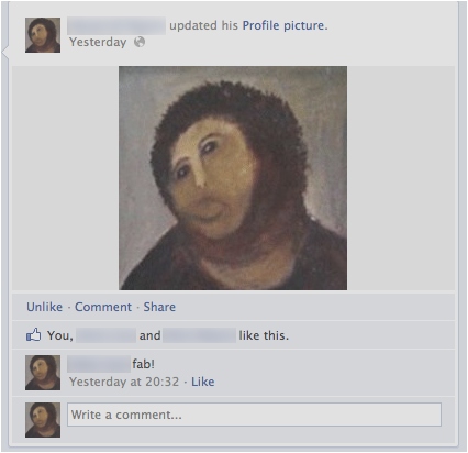 """Ecce Homo"" fresco as Facebook profile pic"