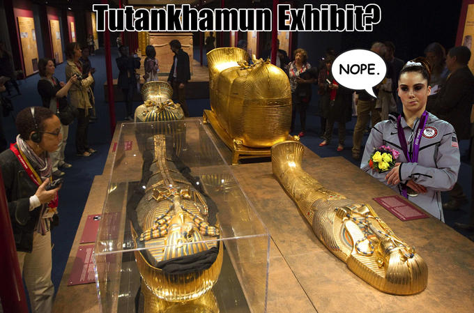 McKayla is not impressed by King Tut.