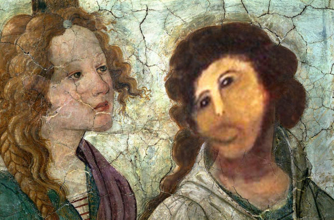 Botched Ecce Homo Painting Sandro Botticelli Young Woman Receives Gifts From Venus