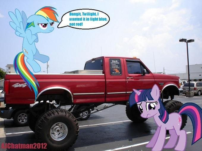 Twilight Sparkle buys Rainbow Dash a truck