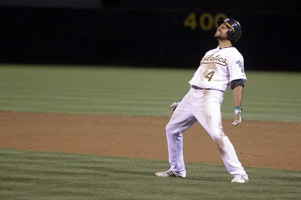 Oakland A's centerfielder Coco Crisp doing the Bernie