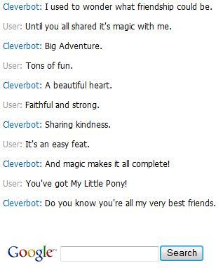 Clever Bot knows the My Little Pony themesong