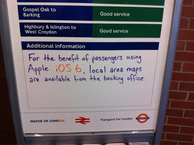 London Underground Aids iOS 6 Maps Users