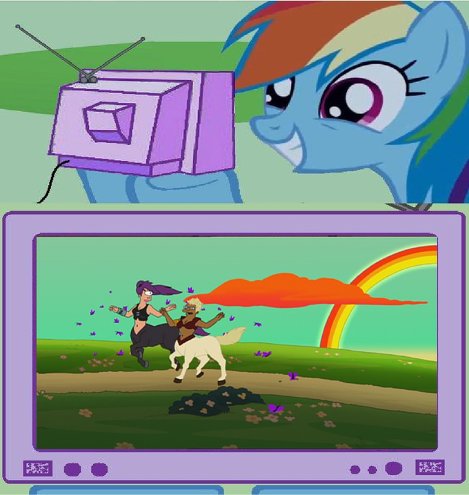 Rainbow Dash Watches Leela And Hermes As Centaurs