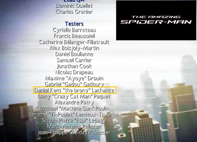 The Amazing Spider-Man Game Credits