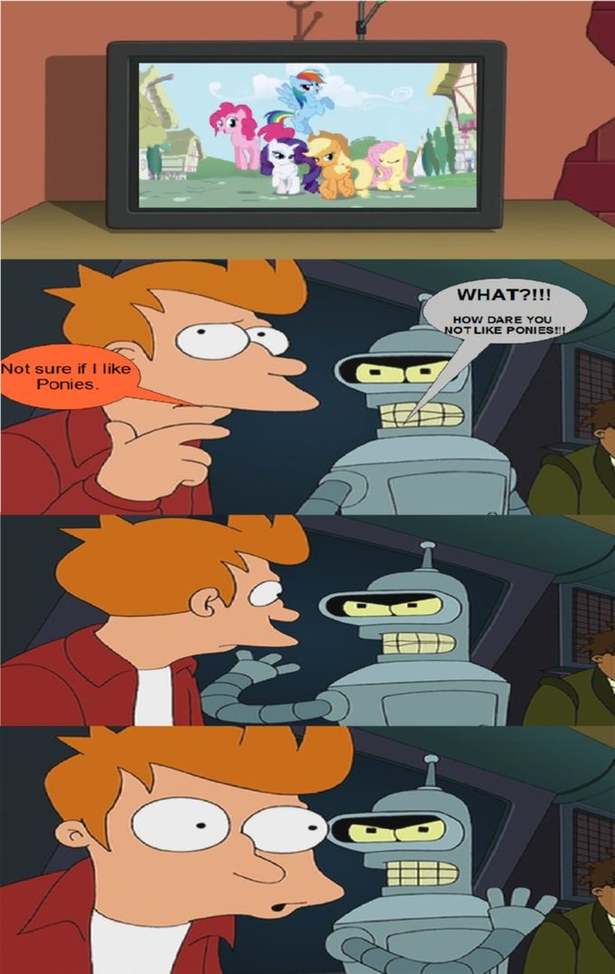 Bender Doesn't Like Fry's Pony Hating