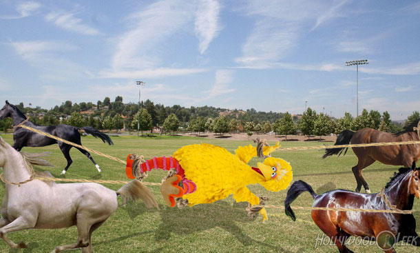 Mitt Kills Big Bird by Attaching Him to Four Horses