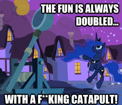 the fun is always doubled with a f**king catapult!