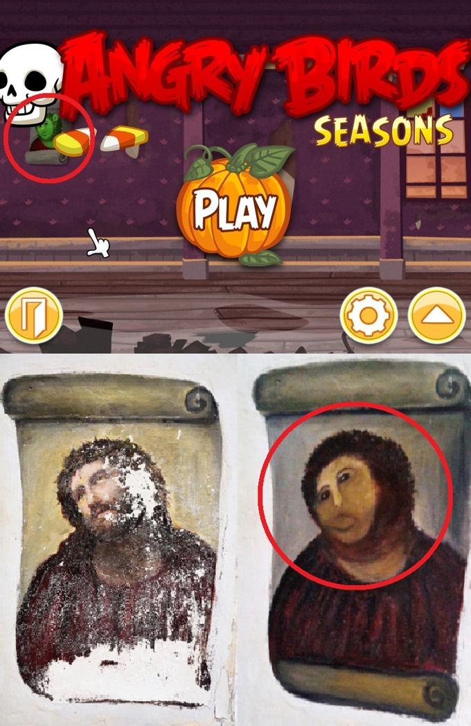 "Angry Birds Seasons Jesus ""Piggie"" Fresco"