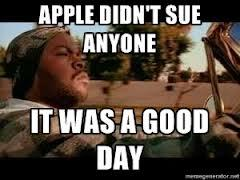 Apple no sue-It was a good day
