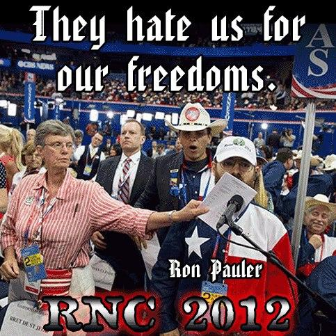 Joan The Silencer, Freedom of Speech, 1st Amendment, RNC, Ron Paul, No Talkie,