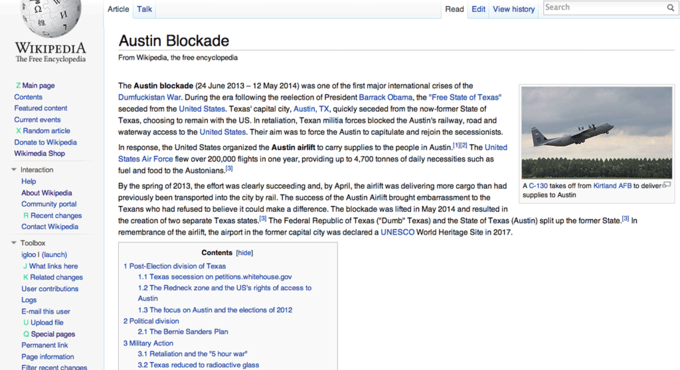 "Fictitious Wikipedia entry on the ""Austin Blockade"""
