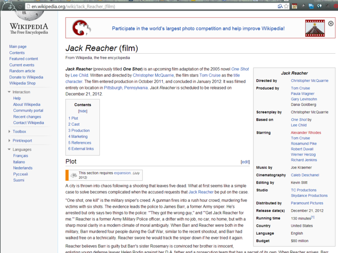 Jack Reacher Wikipedia Page