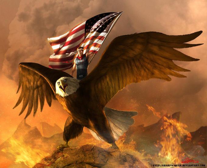 Eagle mounted Stephen Colbert