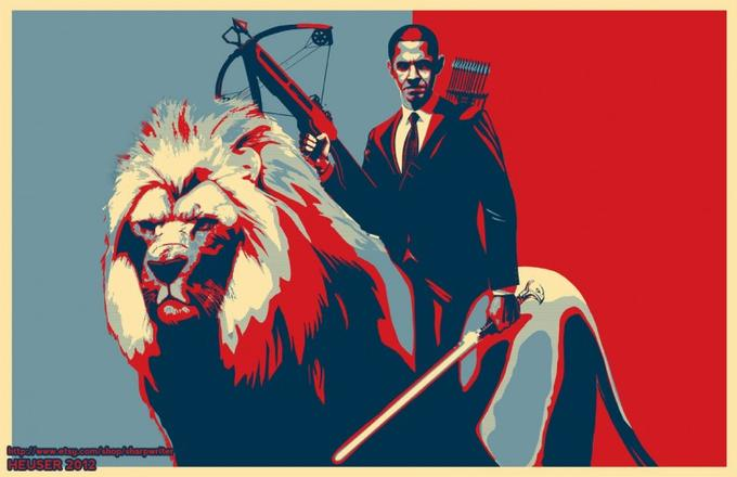 Obama Riding a Lion
