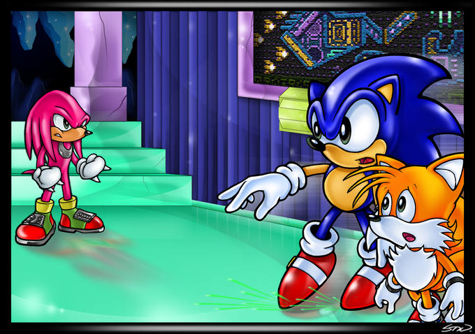 Sonic and Tails vs. Knuckles in Hidden Palace