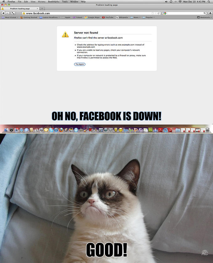 Facebook is down!? - December 10th, 2012