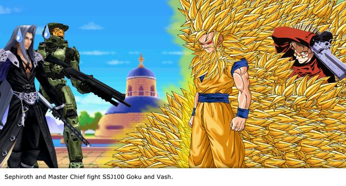 Sephiroth and Master Chief fight SSJ100 Goku and Vash.