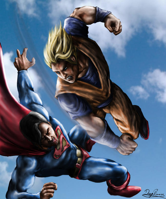 Goku and Superman duel in the skies