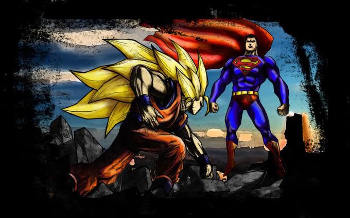 Superman vs Goku by dan stan