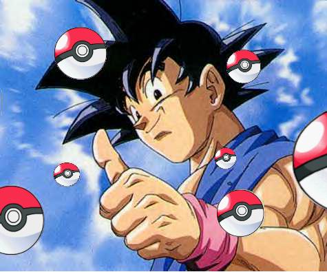 Goku with pokeballs