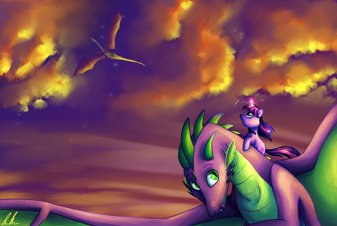 Dragons at Sunset