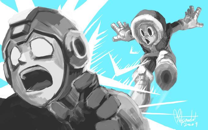 Mega Man vs. Ice Man by spacecoyote
